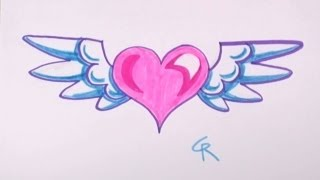 How To Draw Heart With Wings For Kids
