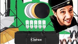 kshoioe studio lighting kit with backdrops setup and review