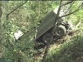 Dump truck lost its brakes landed in ravine. Mariner Way Coquitlam BC Canada August 23 1997
