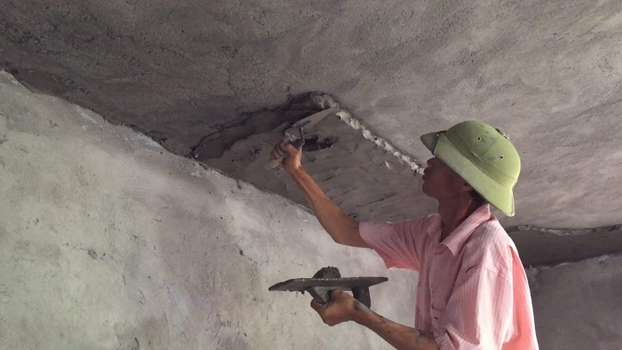 Smart Construction Skills Rendering Sand And Cement Building Ceiling Beautiful With Simple Tools
