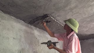 Smart Construction Skills Rendering Sand And Cement - Building Ceiling Beautiful With Simple Tools