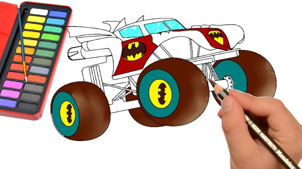 How To Draw Monster Truck Color Monster Truck For Kids Draw Easy Youtube