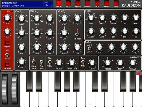 Yonac KAULDRON Synth Let's Play for 3 Minutes Demo for the iPad