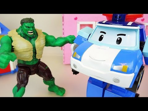 Hulk and Poli police car robot toys play rescue cars