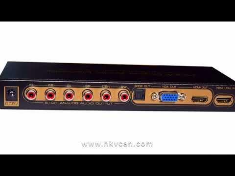 Vcando HDMI Digital Audio Decoder (HDMI TO HDMI+VGA+SPDIF+5.1CH+HP)