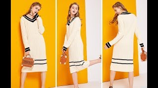AliExpress Review: New Female Fashion Long Sleeve V Collar Knitted Dress