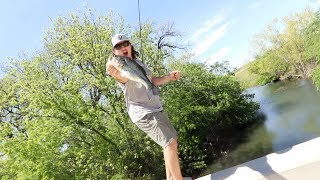 Fishing for Bedding Bass from BRIDGE!!!! (ft.OUTLAW)