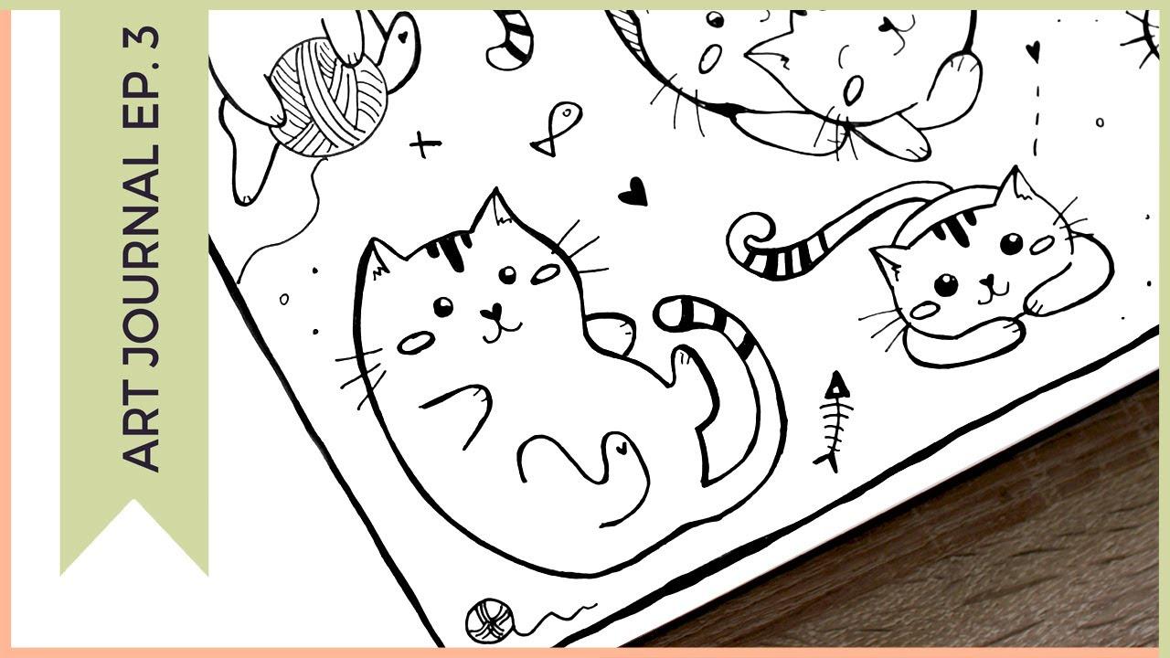 Doodling For Beginners Cute Cat Doodles Art Journal Thursday Ep 3