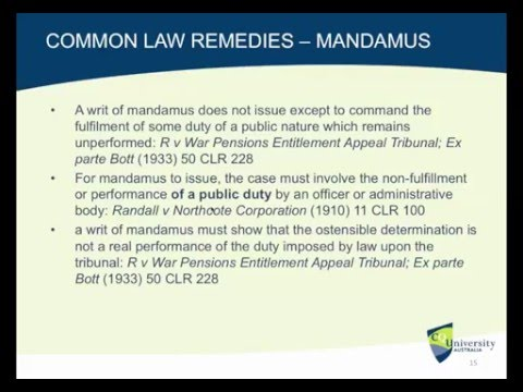 Administrative Law: Judicial Review Remedies (Lecture)