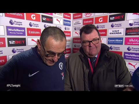 An angry Maurizio Sarri reacts to Chelsea's 2-0 loss at Arsenal