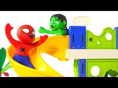 SUPERHERO BABIES HAVE FUN AT THE WATER PARK ❤ Spiderman, Hulk & Frozen Play Doh Cartoons For Kids thumbnail