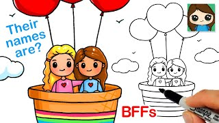 How to Draw Best Friends Hot Air Heart Balloon