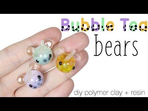How to DIY Cute Boba/Bubble Tea Bears Polymer Clay Resin Tutorial