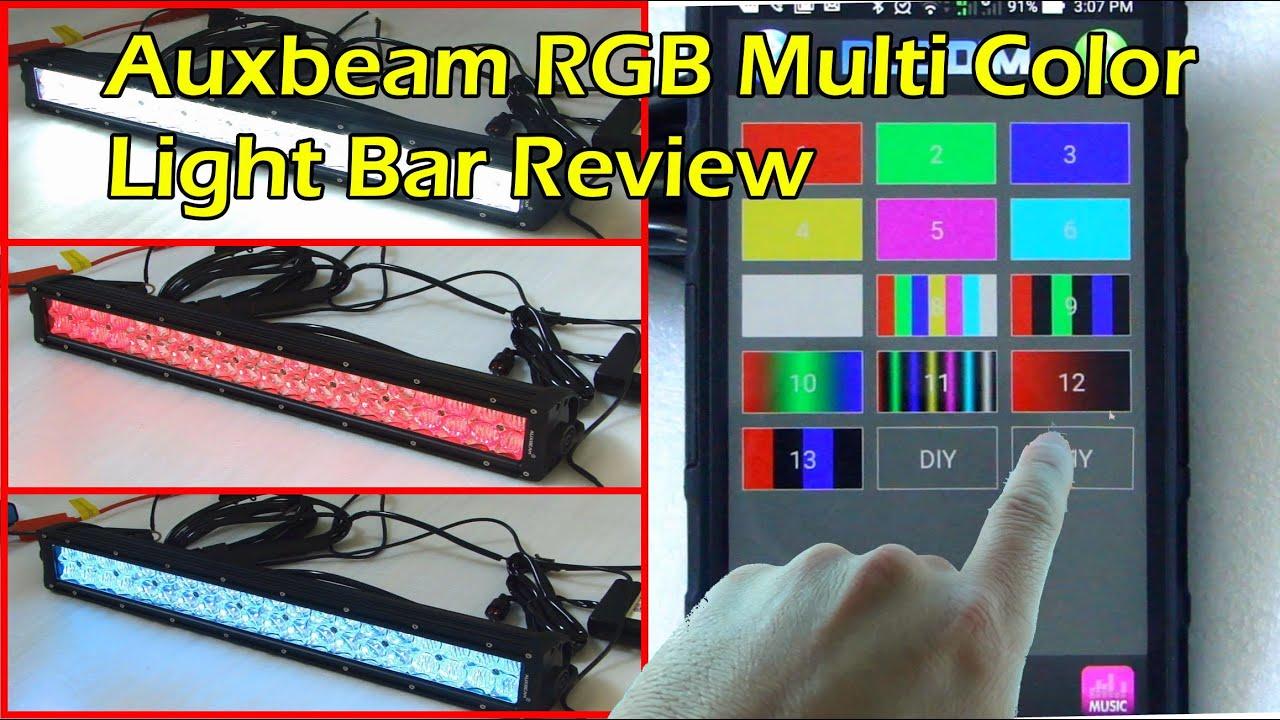 Auxbeam v series bluetooth 120w multi color rgb light bar 22 youtube aloadofball Images