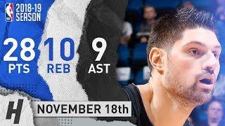 Nikola Vucevic Full Highlights Magic vs Knicks 2018.11.18 - 28 Pts, 9 Ast, 10 Rebounds!