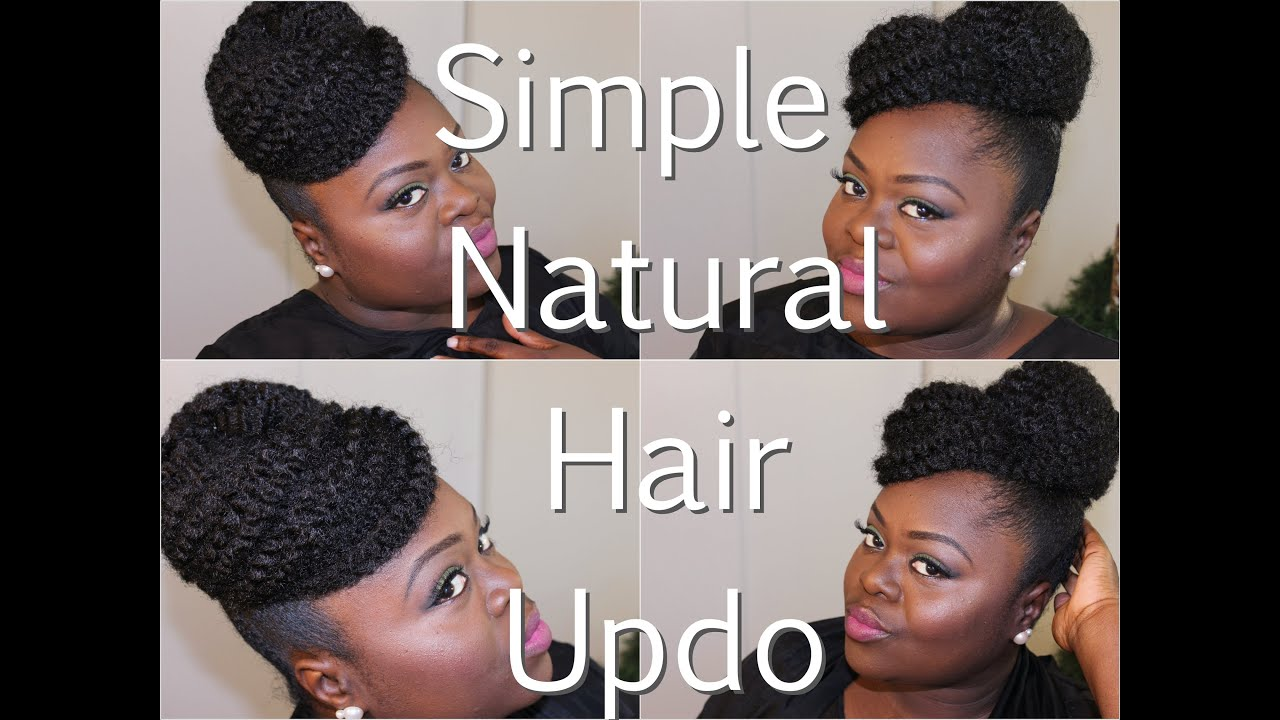 Natural Hair} Simple Updo using Marley Hair Tutorial - YouTube