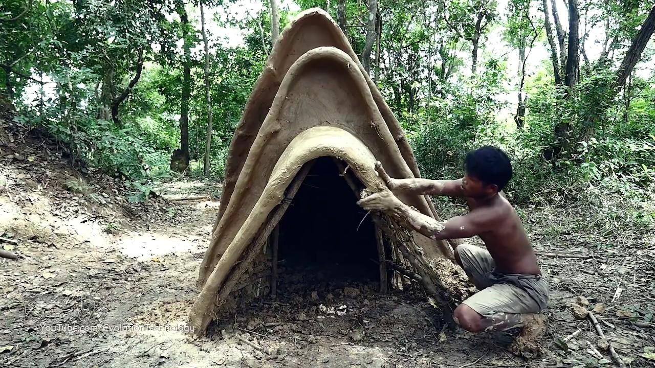 Primitive Technology, Make three pleat tribal mud huts
