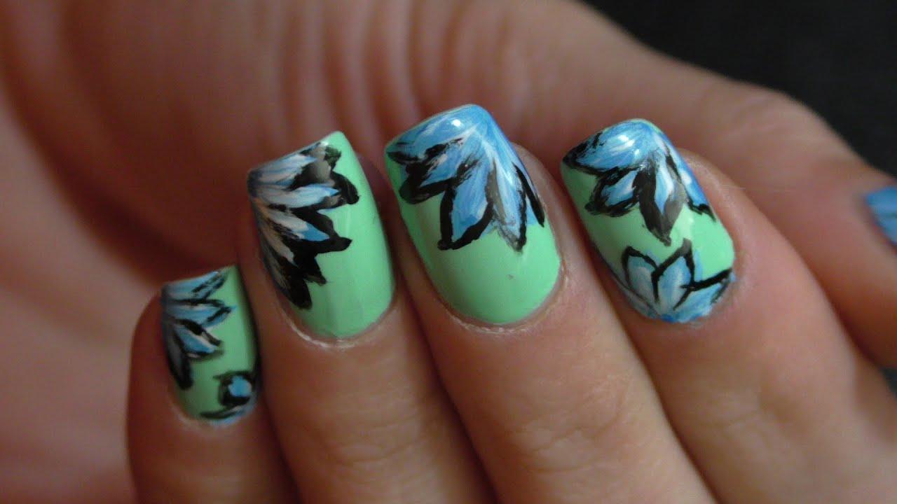 Easy Blue Flowers nail art.. Manichiura cu flori albastre.. Blaue ...