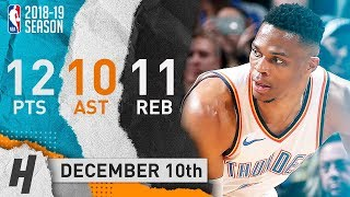 Russell Westbrook Triple-Double Highlights Thunder vs Jazz 2018.12.10 - 12 Pts, 11 Reb 10 Ast
