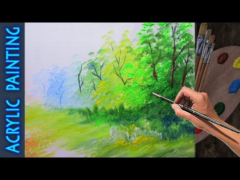 Basic Acrylic Forest Painting Lesson with fogs effects for Beginner | Art Tutorial with Techniques