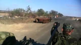 ЛНР, Георгиевка, дорога на аэропорт Луганск (архивное видео, 2014 год)