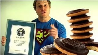 Guinness World Record for Most Jaffa Cakes (13) Eaten in One Minute | Furious Pete
