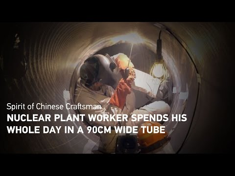 Claustrophobic? Nuclear plant worker spends his whole day in a 90cm wide tube