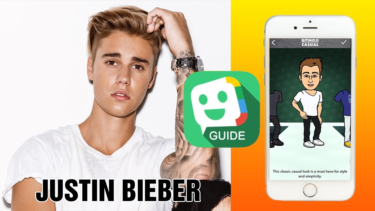 Tutorial for Bitmoji: How to create avatars: Justin Bieber
