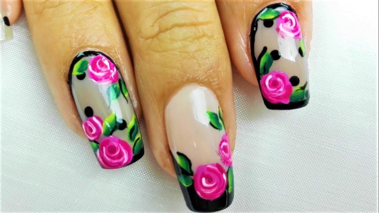 Facil dise o de u as con rosas decoraci n de u as rosas dise o f cil de u as con rosas rojas - Decoracion facil de unas ...
