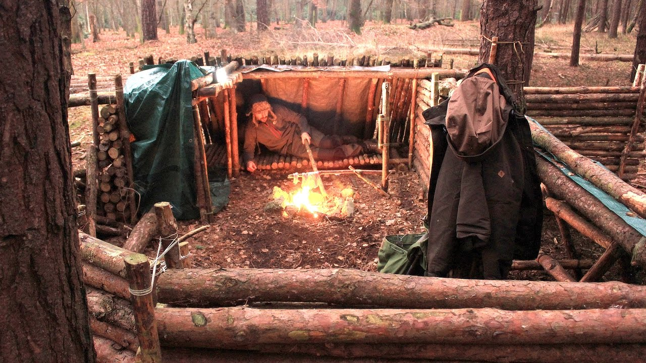 Solo Overnight At The Bushcraft Camp  Fire, Cooking, A