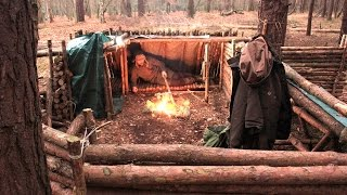 Solo Overnight at the Bushcraft Camp - Fire, Cooking, Axe Work