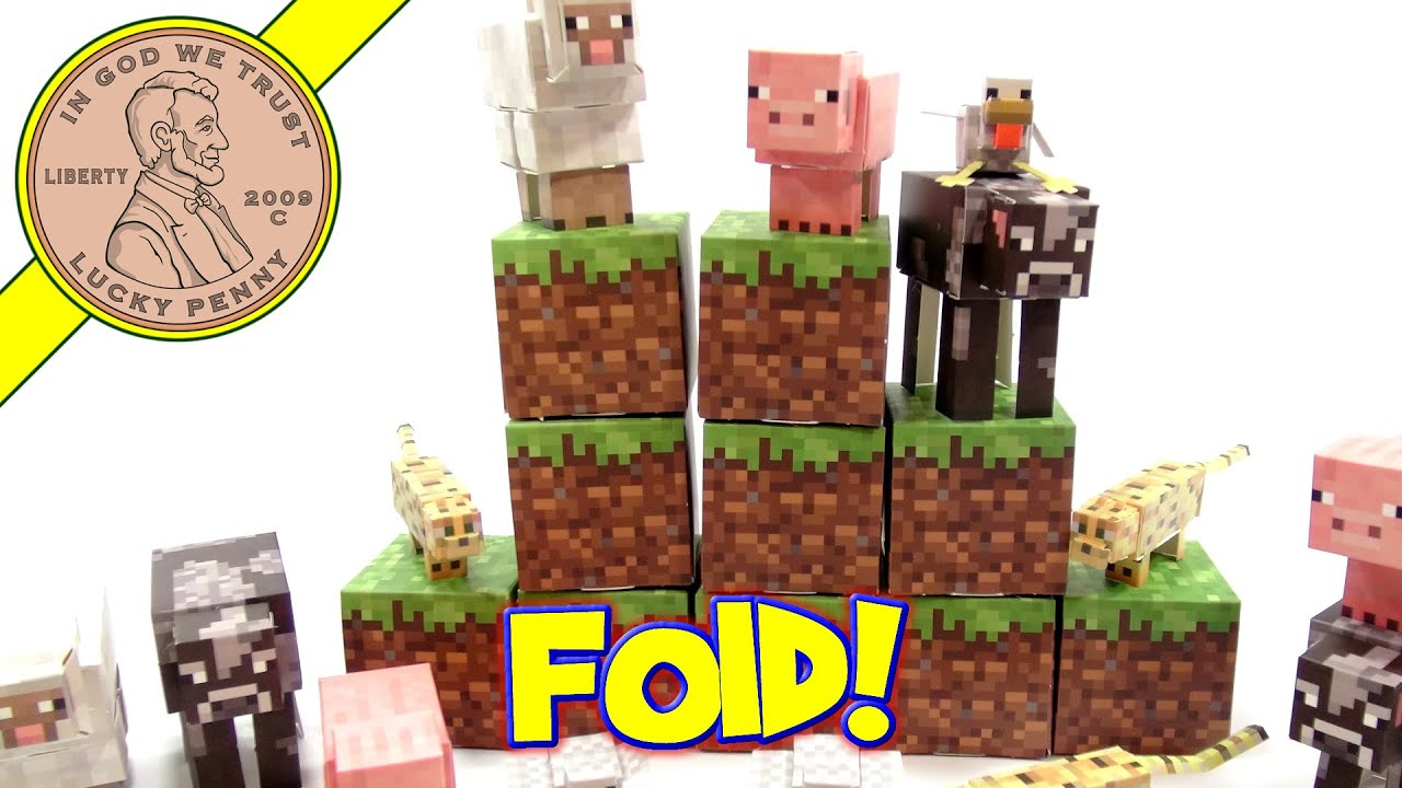 Papercraft Minecraft Animal Mobs Paper Craft Set