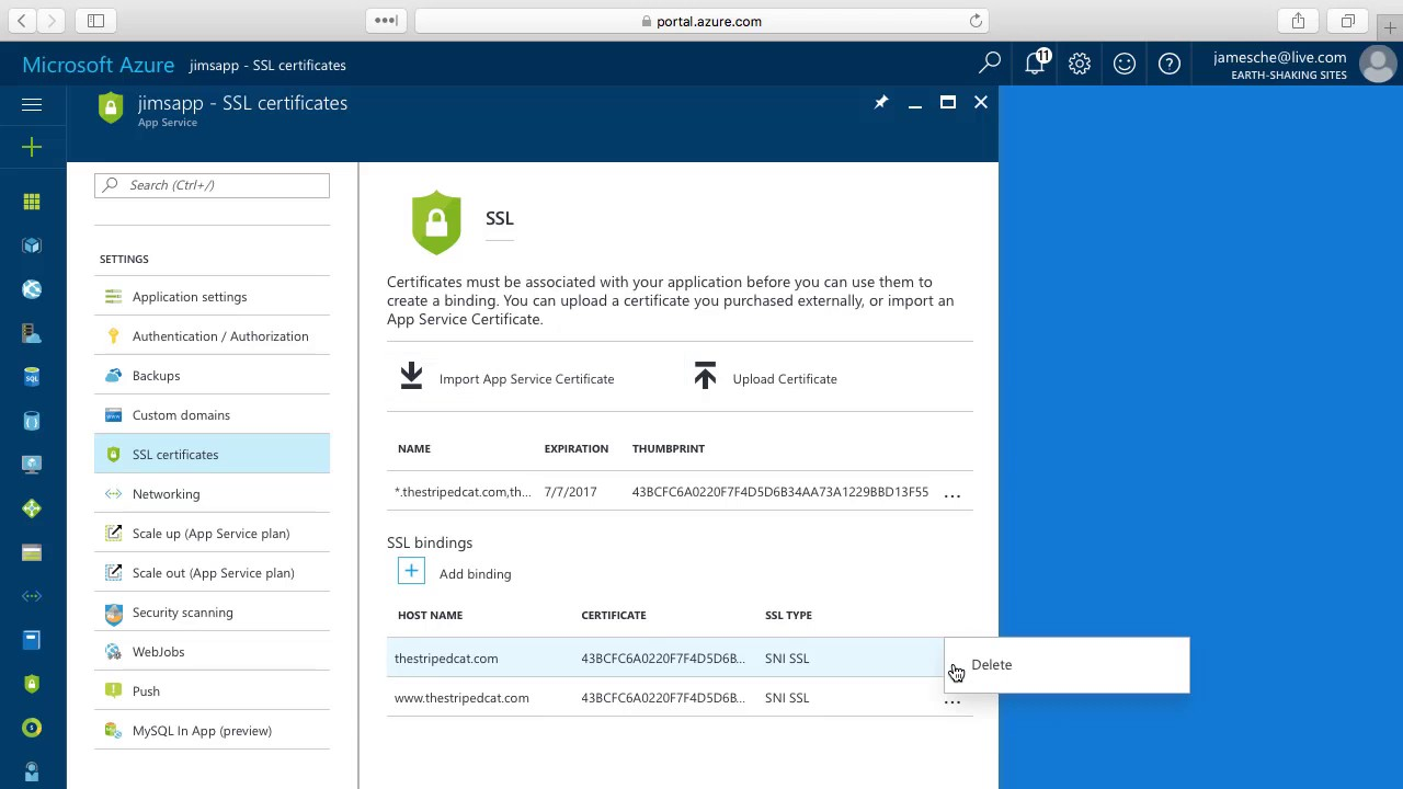 Create An Ssl Binding To Your Azure App Service Youtube