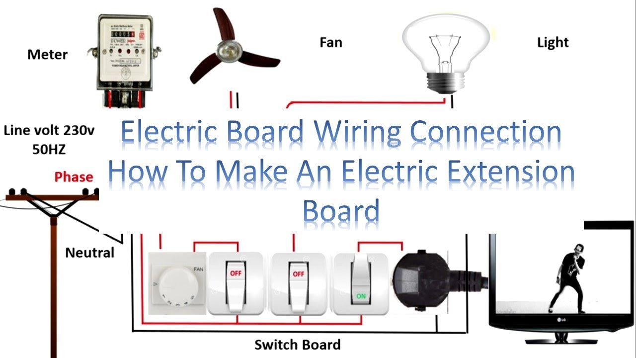 electric board wiring connection how to make an electric extension rh youtube com electric switchboard wiring diagram electric baseboard heater wiring diagram