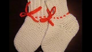 Носочки белые - 3 часть - Crochet Socks - вязание крючком