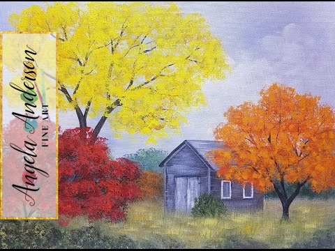 Easy Autumn Tree Landscape With Barn Acrylic Painting Tutorial For Beginners