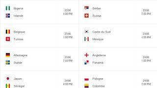 Programme complet de la coupe du monde du football FIFA - Russia 2018