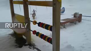 Dashing through the snow! - Woman braves blizzard in Sakhalin
