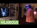 Mom completely freaks out playing VR horror game