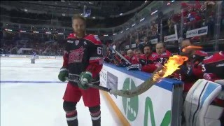 Linus Omark tries to score with a burning stick at KHL ASG