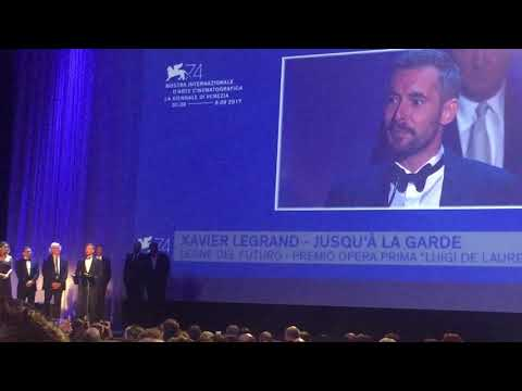 Xavier Legrand receiving the award for Best First Film at Venice Film Festival