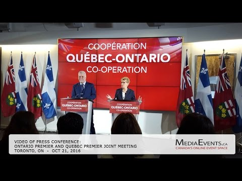 Ontario Premier Kathleen Wynne and Québec Premier Philippe Couillard will hold a joint meeting