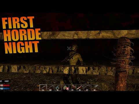 FIRST HORDE NIGHT | Ravenhearst MOD 7 Days to Die | Let's Play Gameplay Alpha 16 | S01E12