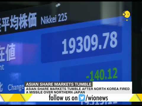 Asian share markets tumble after North Korea fires missile over Japan