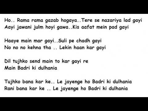 Badri Ki Dulhania Title Song Lyrics Full Song Lyrics Movie -  Badri Ki Dulhania (2017)