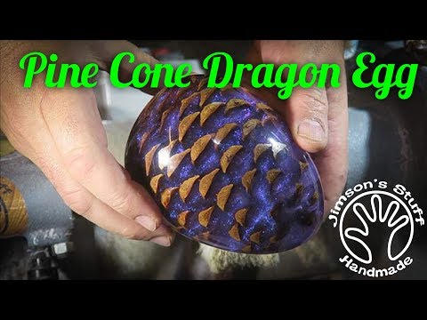 Woodturning a Pine Cone Dragon's Egg