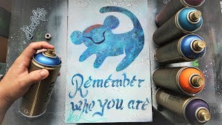 REMEMBER WHO YOU ARE - The Lion King GLOW IN DARK  SPRAY PAINT ART by Skech