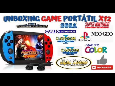 Download Unboxing Vídeo Game Portátil Console X12 Plus 5.5 PSX SFC SNES NES GBA GB MB Review Demonstração
