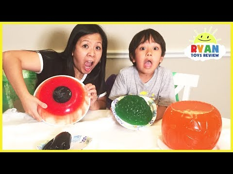Thumbnail: Halloween Gummy Food vs Real Food challenge! Halloween Gummy Giant Candy Parent vs Kid taste test