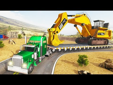 Construction Machines Transporter Truck - Excavator, Truck Vehicles Transport - Android GamePlay HD - 동영상